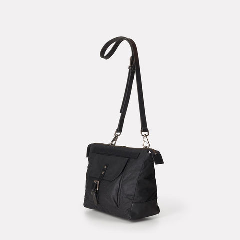 Francesca Waxed Cotton Crossbody Bag With Adjustable Leather Strap in Black for Women
