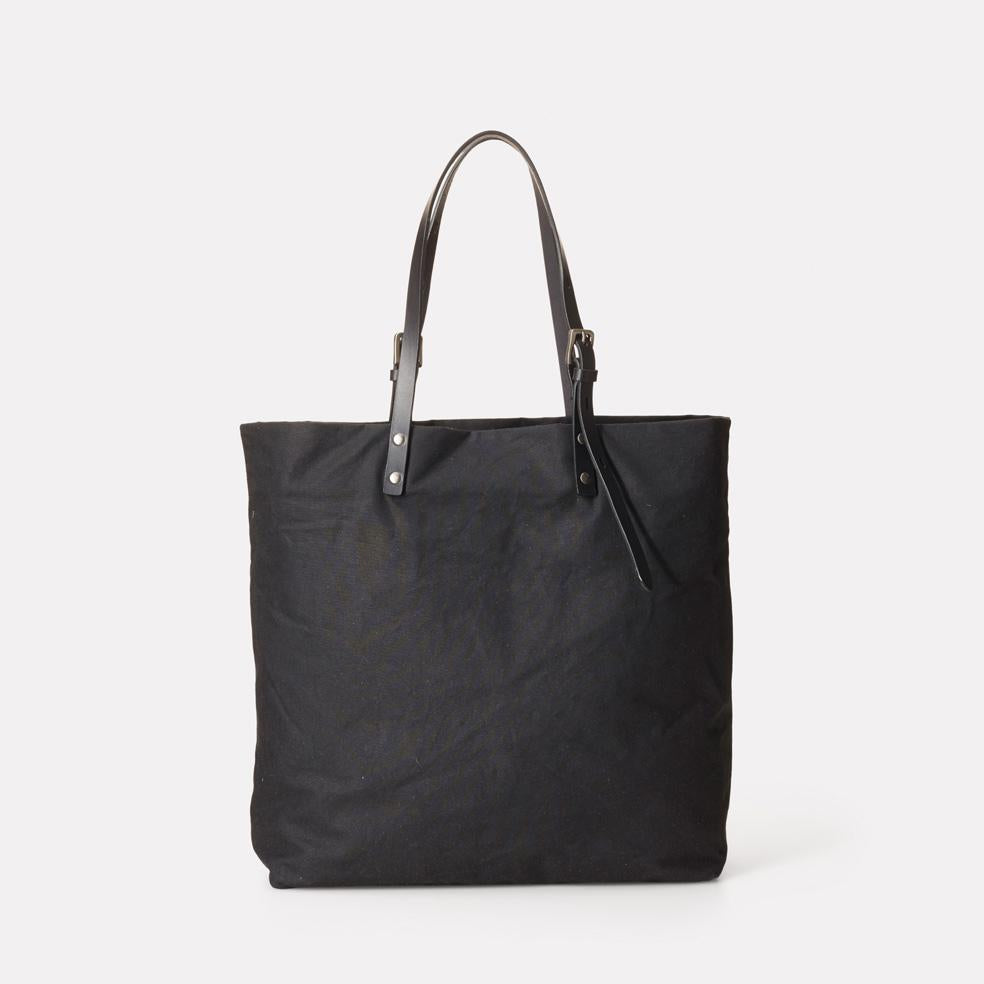 Natalie Waxed Cotton Tote in Black