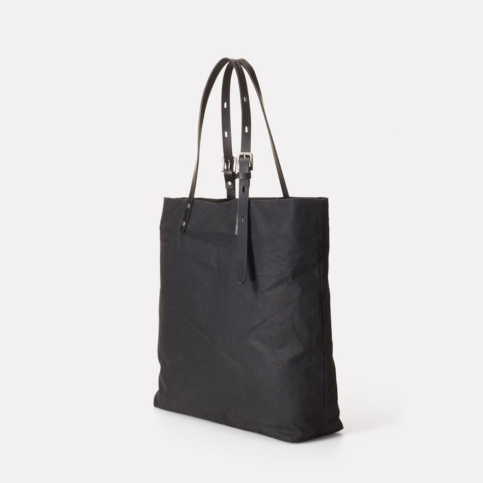Natalie Waxed Cotton Tote in Black  67321bf006