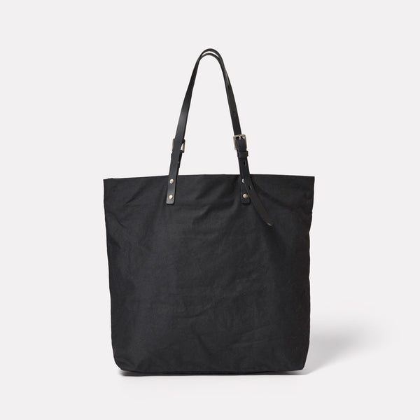Natalie Waxed Cotton Tote in Black-TOTE-Ally Capellino-Ally Capellino