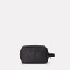 SS19, womens, mens, washbag, waxed cotton, black, black washbag, waxed cotton washbag, makeup bag, toiletry bag,