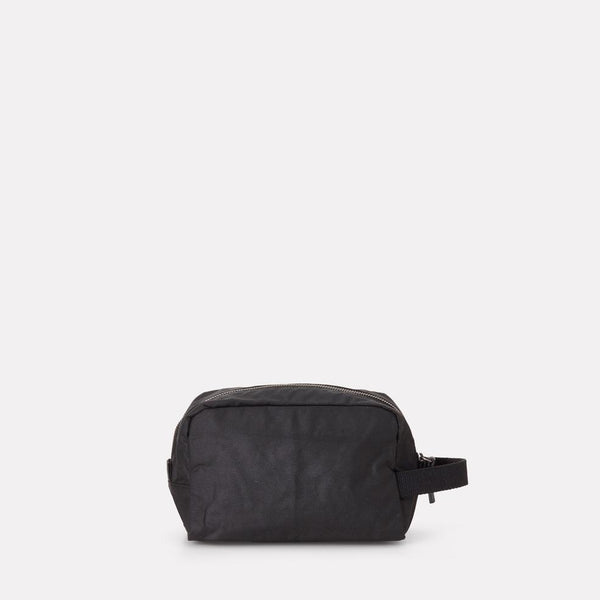 Simon Waxed Cotton Washbag in Black-Washbags-Ally Capellino-Ally Capellino