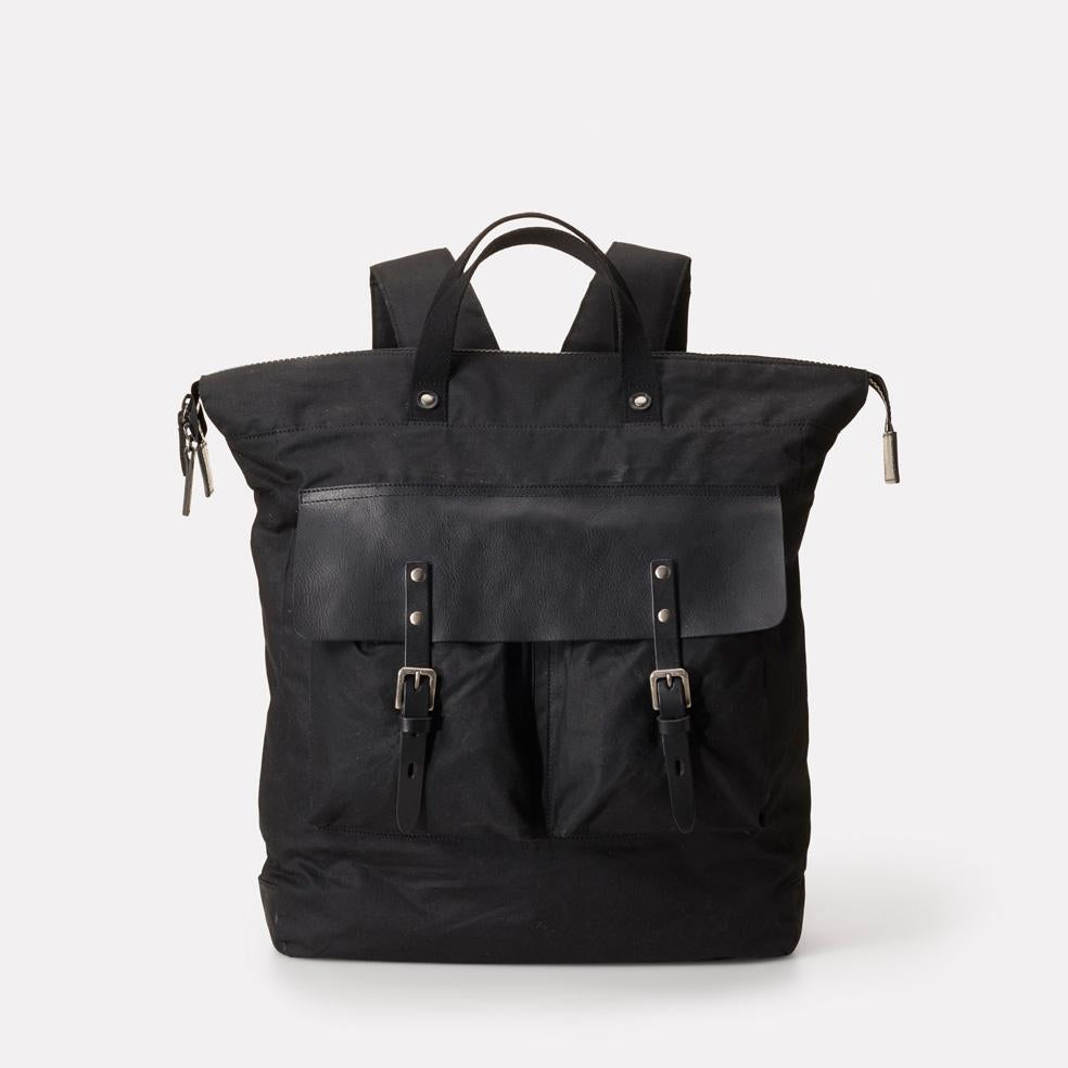 iGor Extra Large Waxed Cotton & Leather Backpack With Padded Pockets in Black With Black Leather for Men and Women