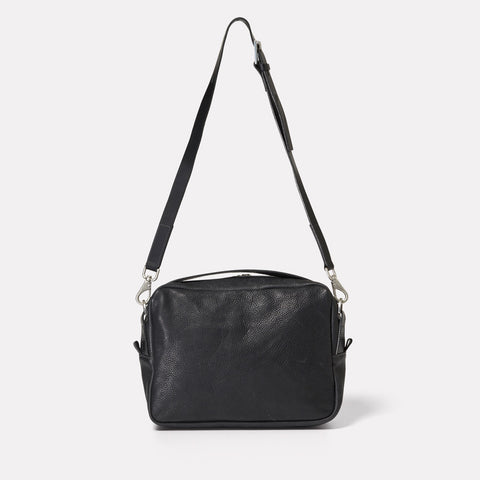 SS19, womens, leather, black, crossbody, black leather, leather crossbody, black leather crossbody, crossbody bag, black crossbody bag, shoulder bag,