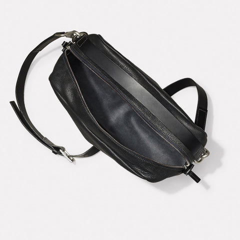 Leila Large Calvert Leather Crossbody Bag in Black