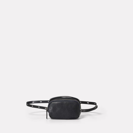 Leila Tiny Calvert Leather Crossbody Bag in Black