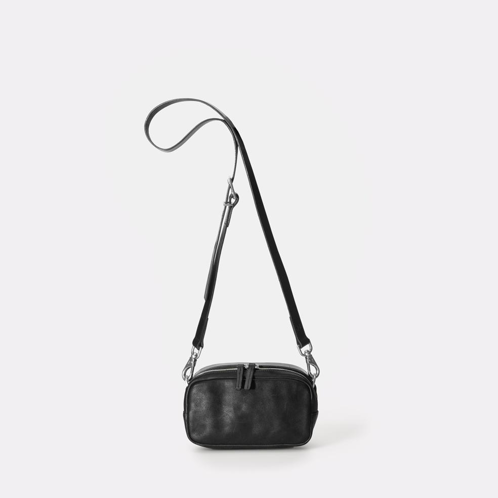Leila Small Calvert Leather Crossbody Bag in Black