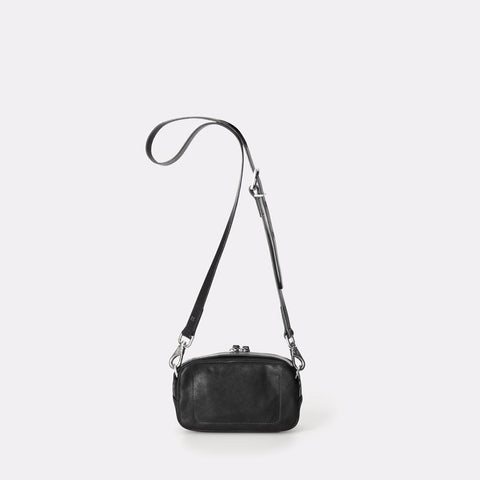 Mini Ginger Vegetable Tanned Leather Zip-Up Mini Crossbody Bag With Adjustable Leather Strap in Black for Women