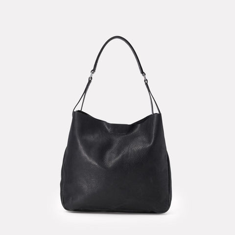 Ally Capellino, Leather, Shoulder bag, leather, black leather, bag, East London, Portabello Road, Italian Leather, Stitched, A4 Folder, Magnet close, Vegetable tanned leather,