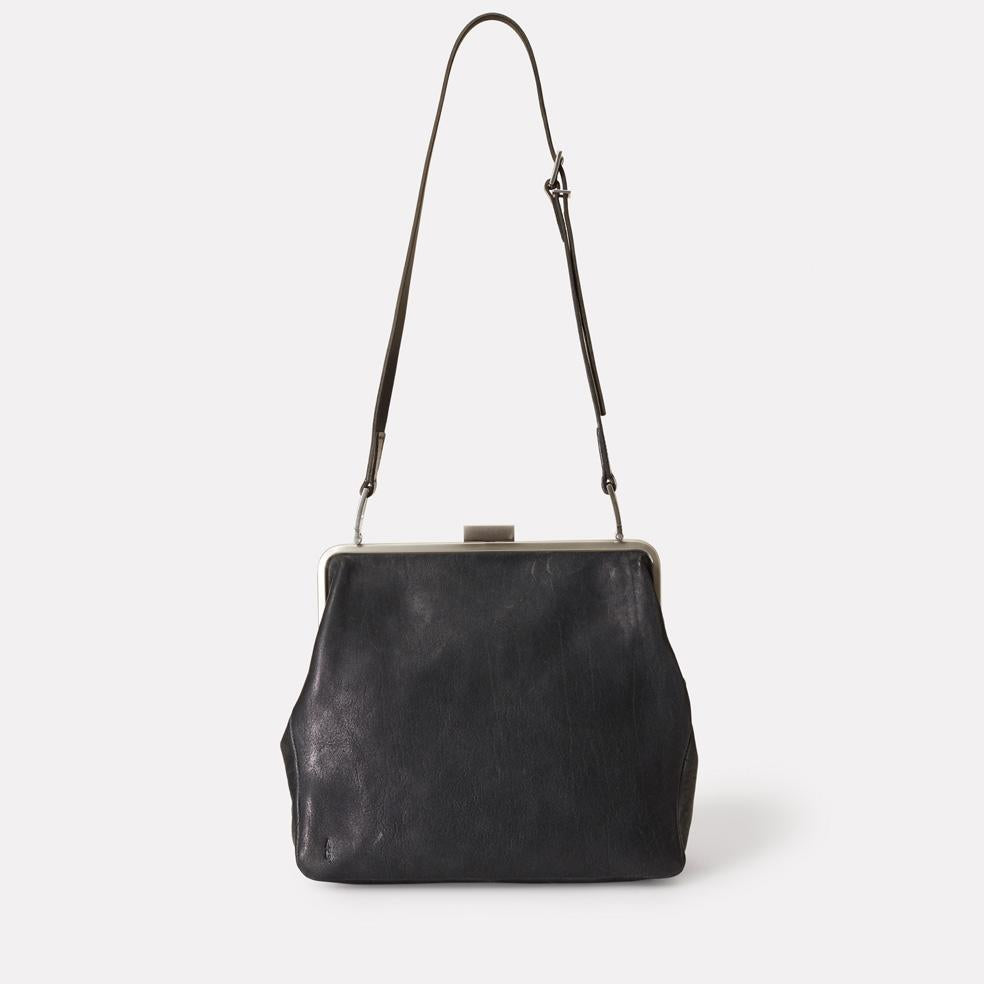Fox Large Calvert Leather Frame Bag in Black