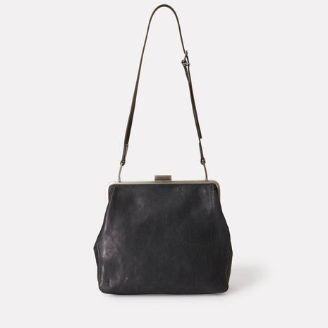 Cilla Calvert Leather Frame Bag in Black