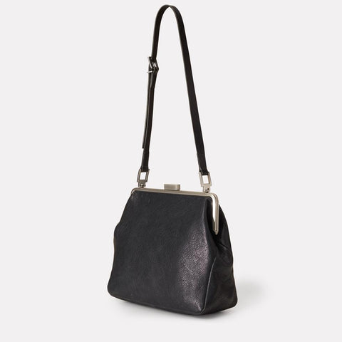 Cilla Large Vegetable Tanned Leather Shoulder Frame Bag in Black for Women