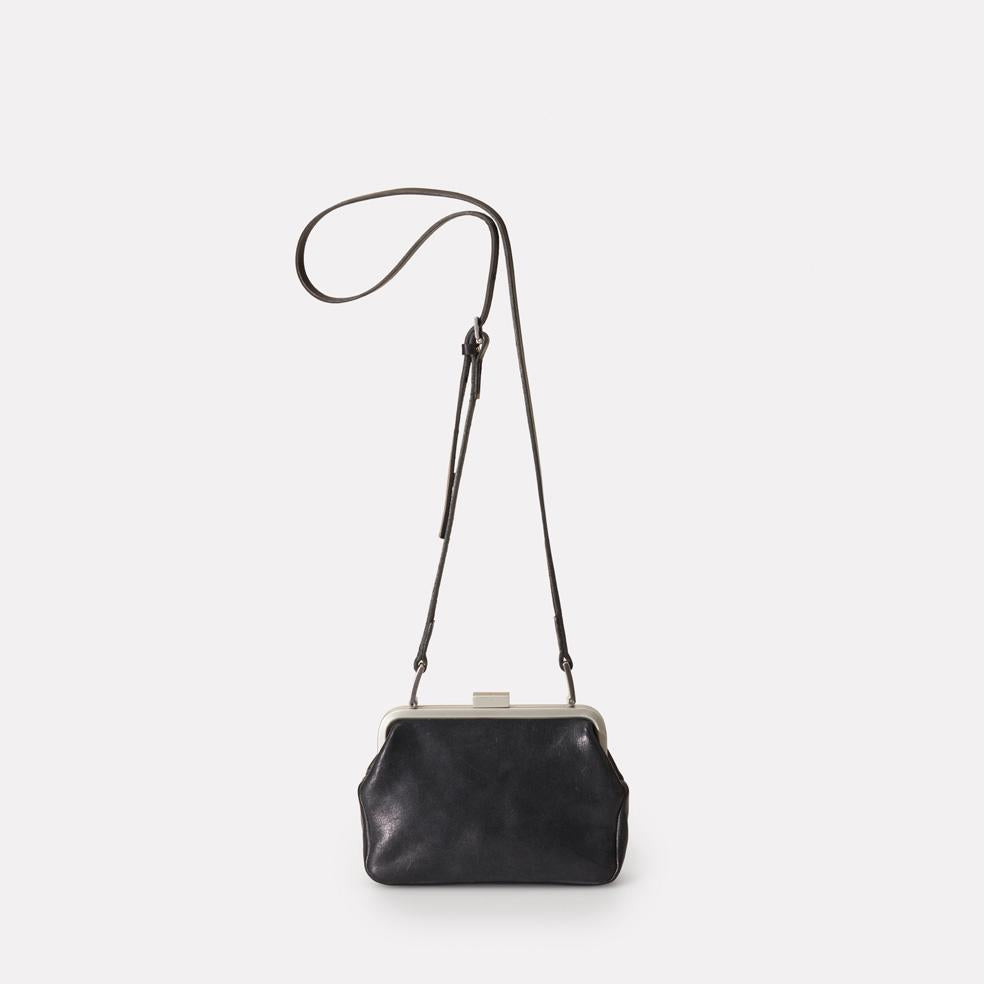 Dusty Vegetable Tanned Leather Mini Shoulder for Crossbody Frame Bag in Black for Women