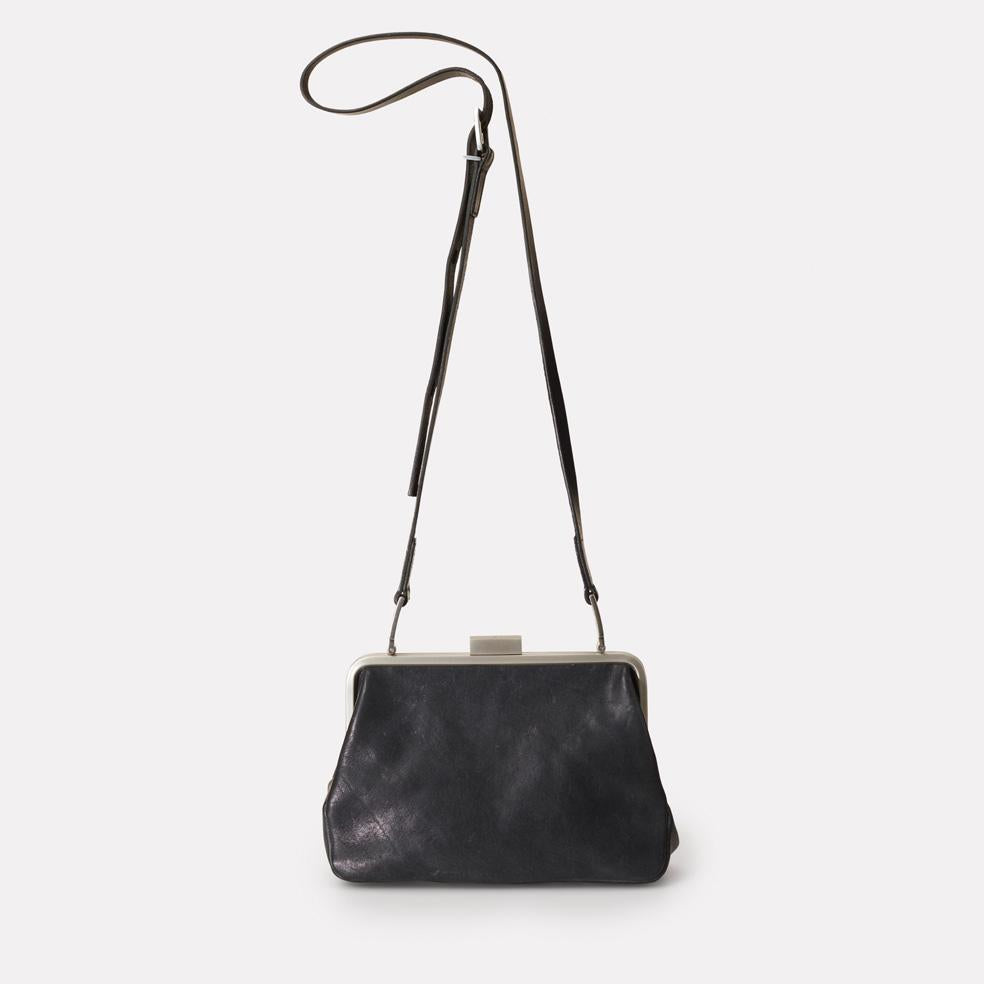 Fox Medium Calvert Leather Frame Bag in Black