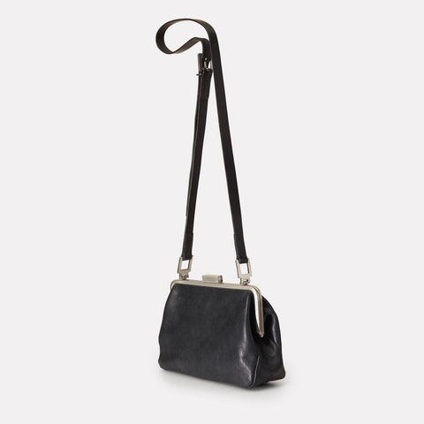Shirley Medium Vegetable Tanned Leather Shoulder Crossbody Frame Bag in Black for Women
