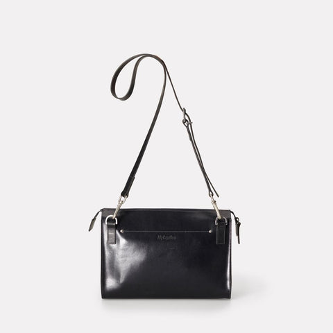 Jackie Polished Leather Crossbody Bag in Navy for Women