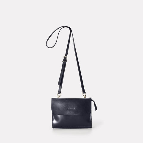 Jean Polished Leather Mini Crossbody Bag in Navy or Women