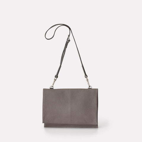 Valerie Pebble Grain Leather Crossbody Fold Bag in Grey For Women