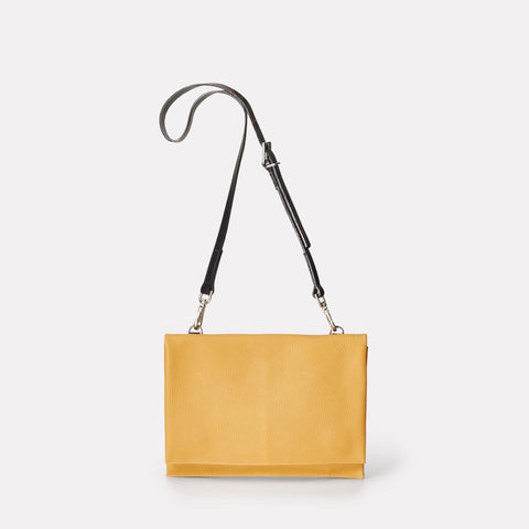 Valerie Pebble Grain Leather Crossbody Fold Bag in Mustard Yellow For Women