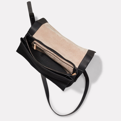 Irenie Large Rochelle Leather Crossbody Bag in Black