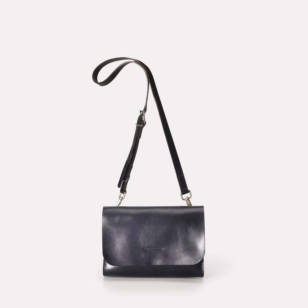 Elizabeth Small Polished Leather Crossbody Bag in Navy for Women