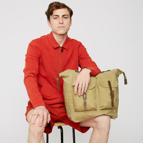 Frank Large Waxed Cotton Rucksack in Gooseberry
