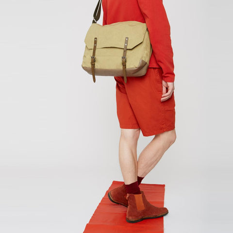 Jeremy Waxed Cotton Satchel in Gooseberry