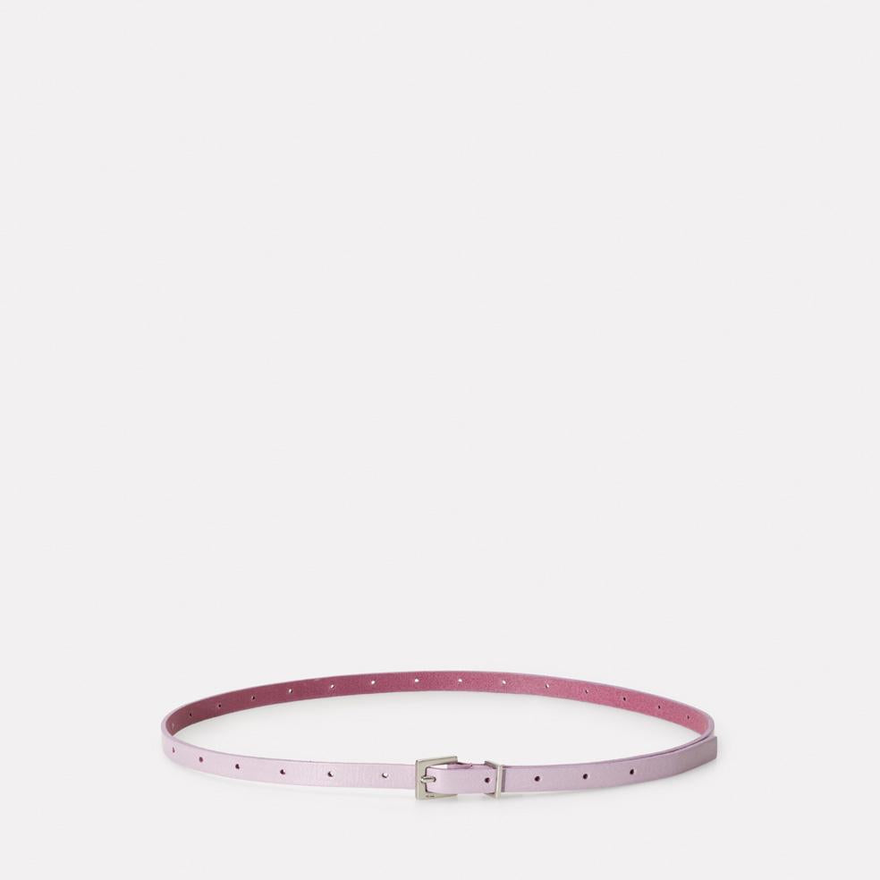Etty Fully Adjustable Skinny Leather Belt in Lilac Purple for Women