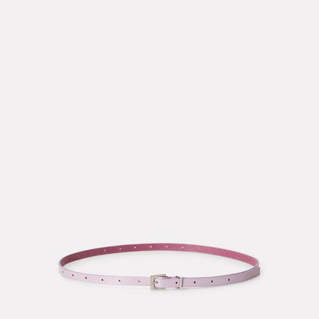 Etty Slim Leather Belt in Lilac