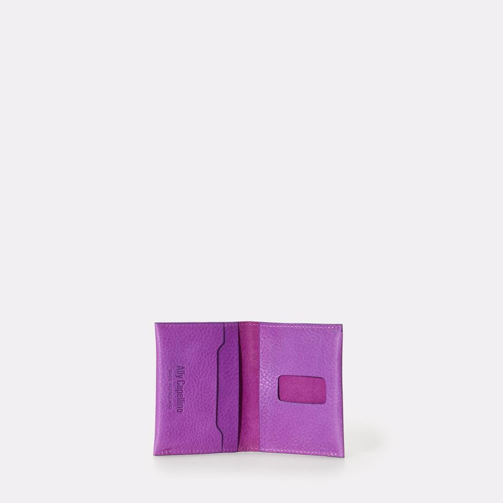 Fletcher Leather Card Holder in Purple