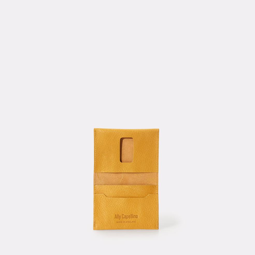 SS18: Fletcher Leather Card Holder in Yellow   Ally Capellino