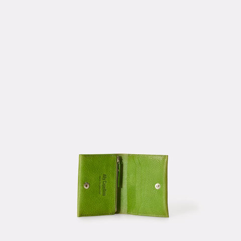 Riley Leather Wallet With Zip Up Coin Section in Green For Men and Women