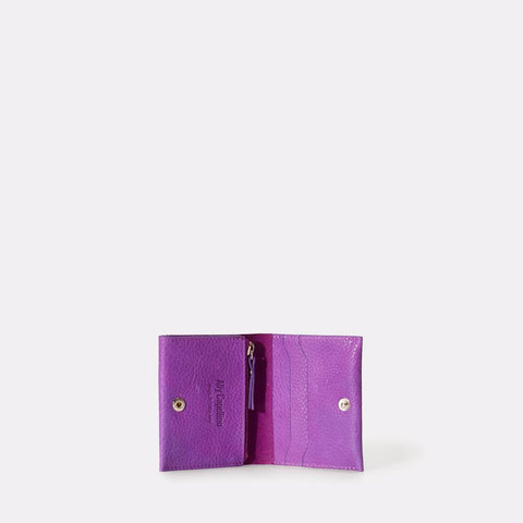 Riley Leather Wallet With Zip Up Coin Section in Purple For Men and Women