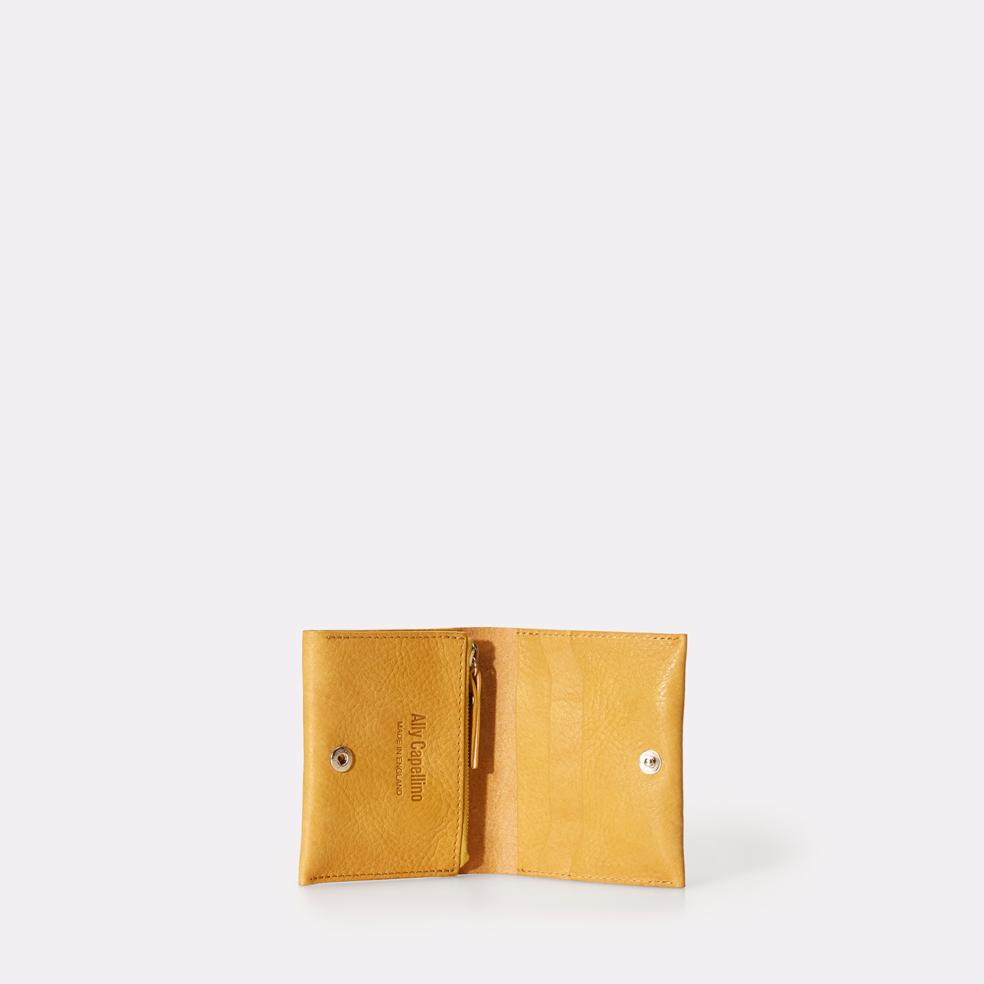 Riley Leather Wallet With Zip Up Coin Section in Yellow For Men and Women