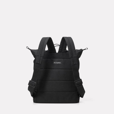 SS19, mens, womens, travel and cycle, nylon, backpack, rucksack, black, black backpack, black rucksack, water resistant, water resistant backpack, reflective, cycle bag, 13 inch laptop,