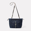 Francesca Waxed Cotton Crossbody Bag in Navy & Grey