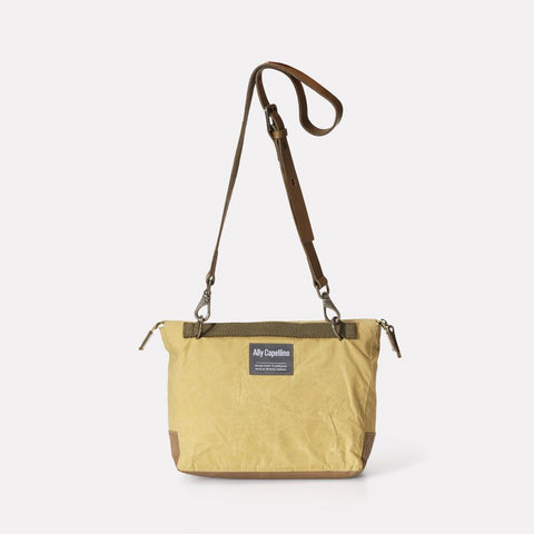 Francesca Waxed Cotton Crossbody Bag With Adjustable Leather Strap in Pale Green for Women