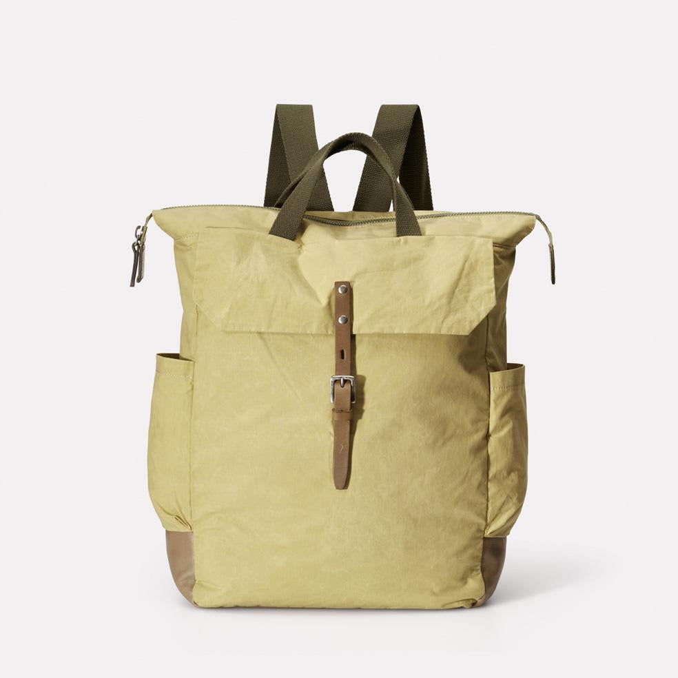 Fin Waxed Cotton Utility Rucksack in Gooseberry