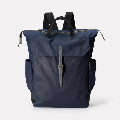 Ashley Waxed Cotton Utility Rucksack in Navy & Grey
