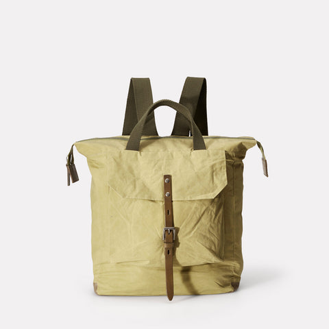 Frances Small Waxed Cotton Zip Up Backpack With Webbing Top Handle in Pale Green For Women and Men