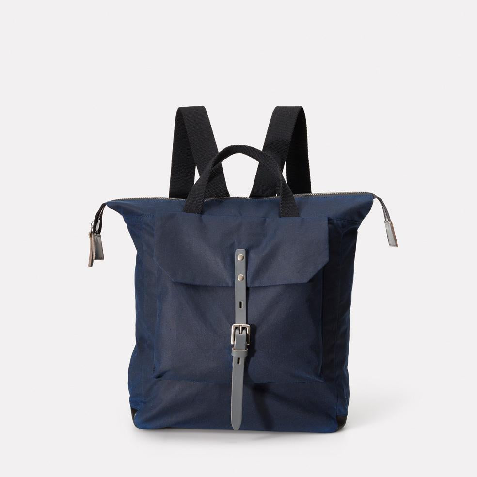 Frances Waxed Cotton Rucksack in Navy & Grey