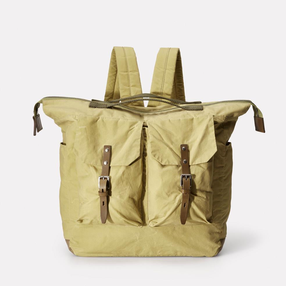 Frank Large Waxed Cotton Backpack With Double Pockets and Wide Zip Up Top Opening in Pale Green for Men and Women