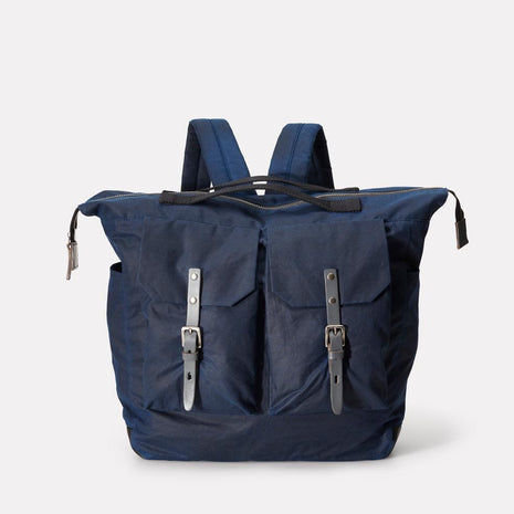 Frank Large Waxed Cotton Rucksack in Navy & Grey