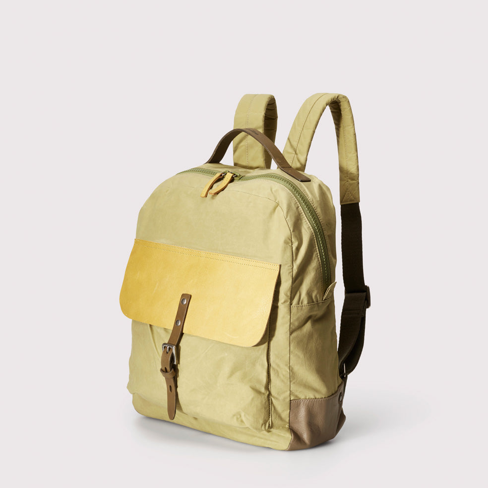 8b9a35d2a8f2 ... iAn Waxed Cotton   Leather Rucksack in Gooseberry ...