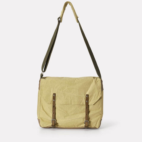 Jeremy Waxed Cotton Satchel With Padded Webbing Strap in Pale Green For Men and Women