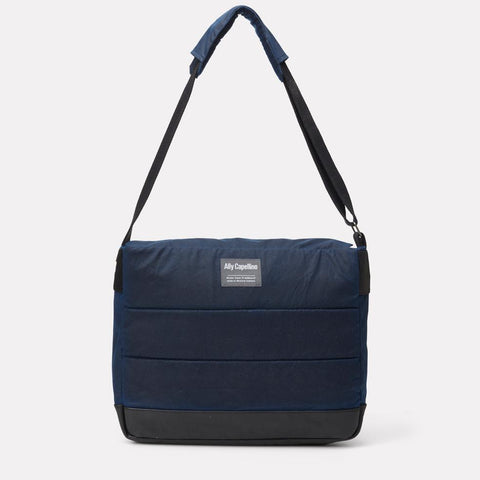 Jeremy Waxed Cotton Satchel in Navy & Grey