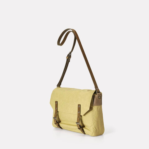Jez Small Waxed Cotton Satchel With Adjustable Leather Strap in Pale Green For Women and Men