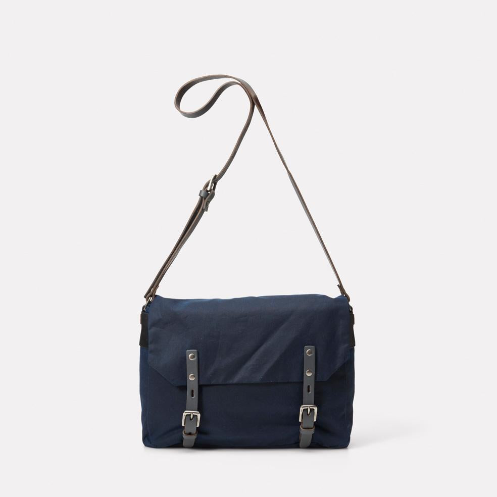 Jez Waxed Cotton Satchel in Navy & Grey