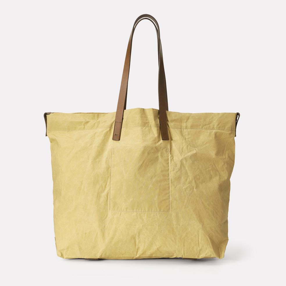 Billy Oversized Waxed Cotton Tote in Gooseberry