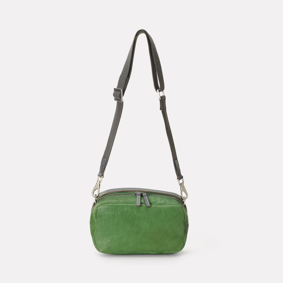 Ginger Calvert Leather Crossbody Bag With Webbing Strap in Avocado
